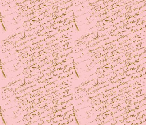 French Script Pink fabric by karenharveycox on Spoonflower - custom fabric