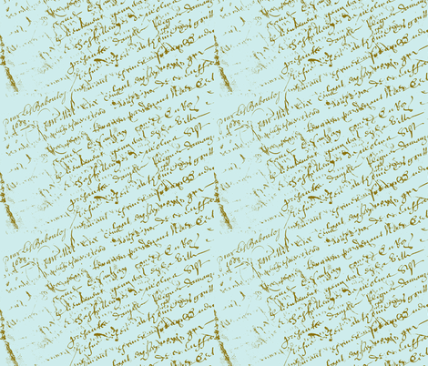 French Script on Tiffany Blue  fabric by karenharveycox on Spoonflower - custom fabric