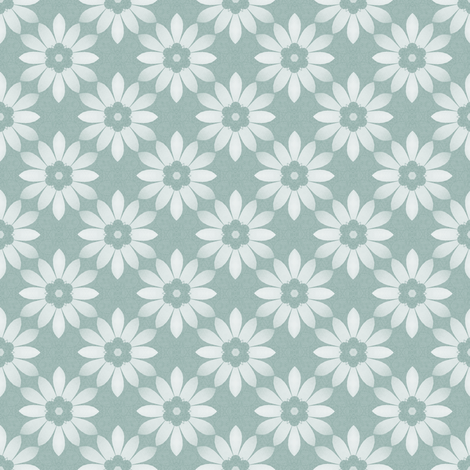 white flower on blue fabric by oranshpeel on Spoonflower - custom fabric