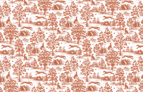 Brick Red Greyhound Toile ©2010 by Jane Walker fabric by artbyjanewalker on Spoonflower - custom fabric