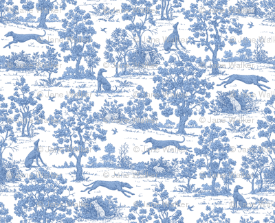 Soft Blue Greyhound Toile ©2010 by Jane Walker