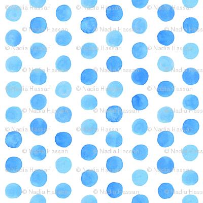 Small Watercolor Dots: Cobalt Blue