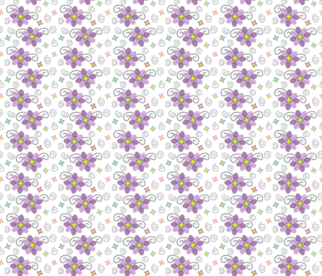 Purple Spring Flowers and Swirls