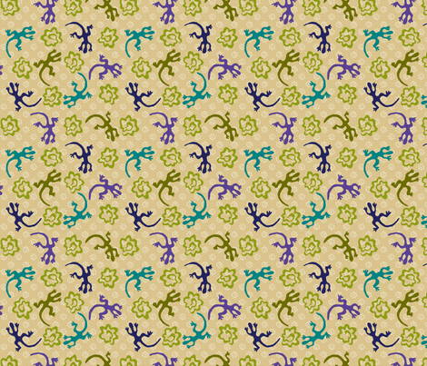 Desert Lizards and Tumbleweeds fabric by kdl on Spoonflower - custom fabric