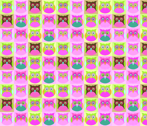 Alexander Owls - pink fabric by petunias on Spoonflower - custom fabric
