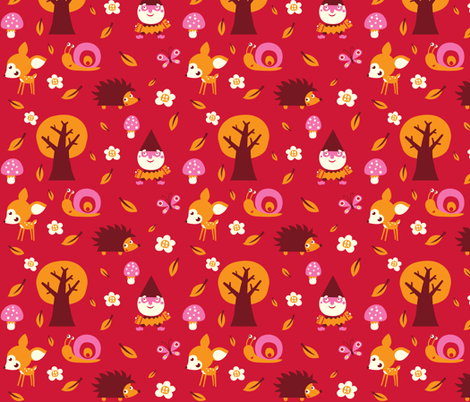 Forest in red fabric by bora on Spoonflower - custom fabric