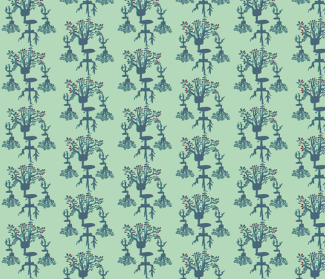 Office Chair Tree - Aqua fabric by handmadepretties on Spoonflower - custom fabric