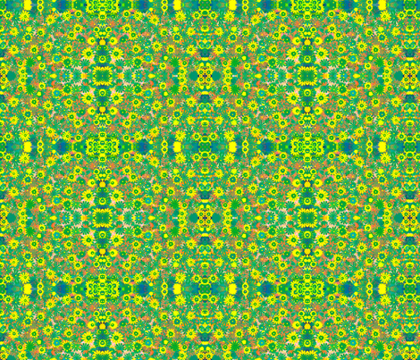 Green daizy fabric by jellybeanquilter on Spoonflower - custom fabric