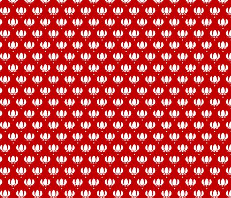 White Flower on Red fabric by siya on Spoonflower - custom fabric