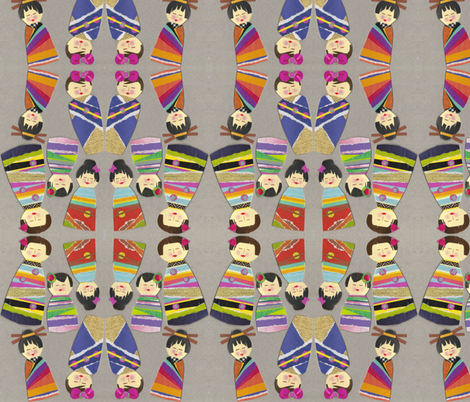 kokeshi kuties fabric by scrummy on Spoonflower - custom fabric