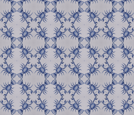 Blue Painted Lobster  fabric by susienielsen32 on Spoonflower - custom fabric