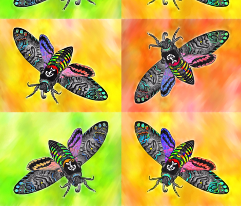 Bright Goth Moths fabric by jan4insight on Spoonflower - custom fabric