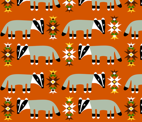 Badger large fabric by em_wie_maike on Spoonflower - custom fabric
