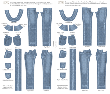 "Her Favorite Faded Jeans 11 1/2"" doll (Barbie) fabric by danielbingham on Spoonflower - custom fabric"