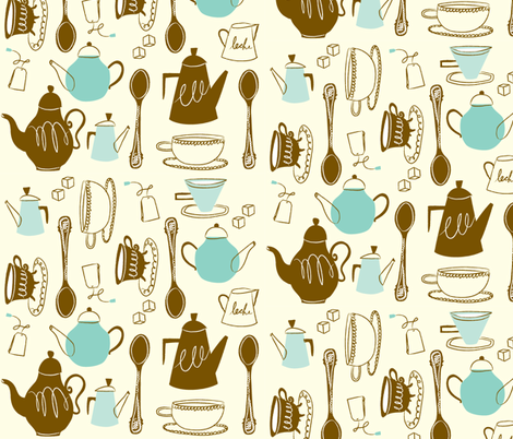 Tea Time fabric by dwelldeep on Spoonflower - custom fabric