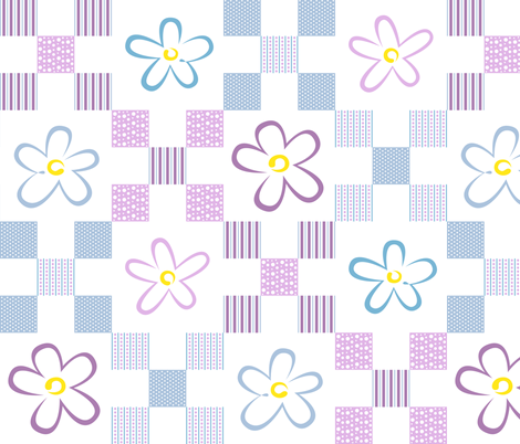 Summer_Flowers_9_patch fabric by karenmayo on Spoonflower - custom fabric