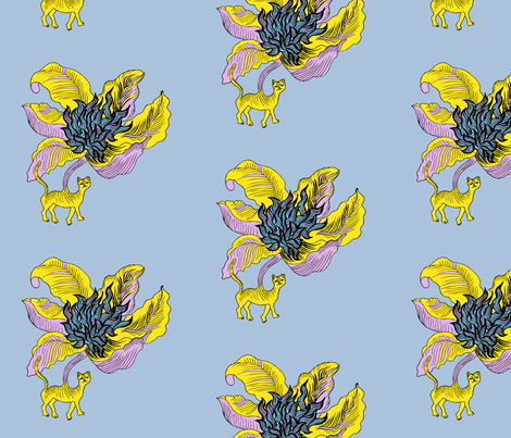 El gato flor fabric by dominique on Spoonflower - custom fabric