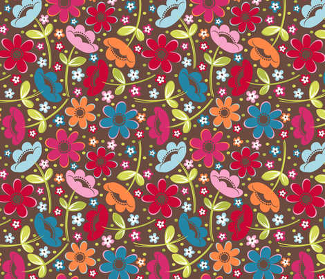 Tossed Floral Chocolate fabric by melaniesullivan on Spoonflower - custom fabric