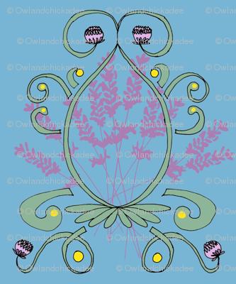 Lavender and Clover Damask Green