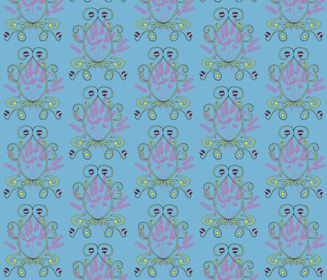 Lavender and Clover Damask Green fabric by owlandchickadee on Spoonflower - custom fabric