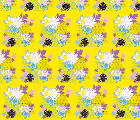 golden summer flowers fabric by teresa_kirk on Spoonflower - custom fabric