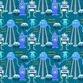 Retro Robot Blue Gray 2A
