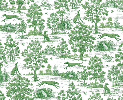 Green Greyhound Toile ©2010 by Jane Walker