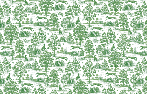 Green Greyhound Toile 2010 by Jane Walker fabric by artbyjanewalker on Spoonflower - custom fabric
