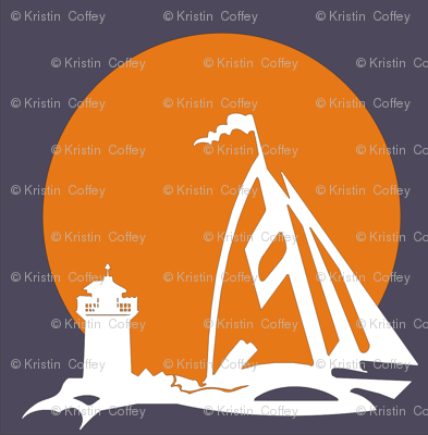 orange sailboat with lighthouse