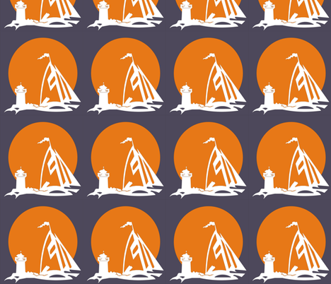 orange sailboat with lighthouse fabric by koffeycakes on Spoonflower - custom fabric