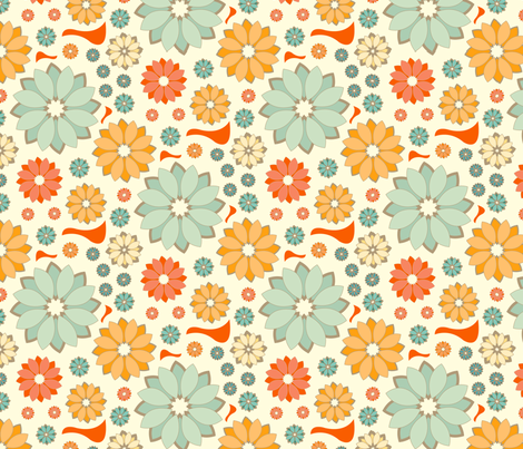 Orange Flowerbirds fabric by elvett11 on Spoonflower - custom fabric