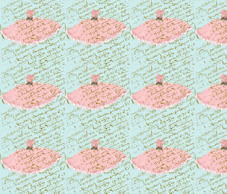 Ooh La Lah Pink Dress on Tiffany Blue French Script fabric by karenharveycox on Spoonflower - custom fabric