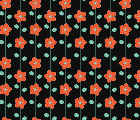 red retro flowers fabric by suziedesign on Spoonflower - custom fabric