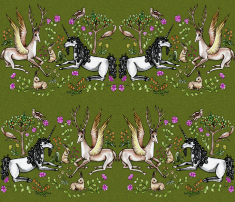 medieval unicorn garden fabric by uzumakijo on Spoonflower - custom fabric