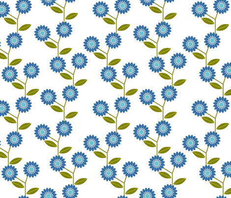 Blue retro flowers fabric by suziedesign on Spoonflower - custom fabric