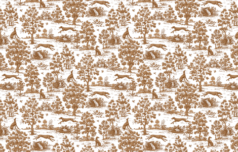 Brown Greyhound Toile ©2010 by Jane Walker fabric by artbyjanewalker on Spoonflower - custom fabric