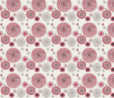 Chrystanthemums on Beige fabric by penina on Spoonflower - custom fabric