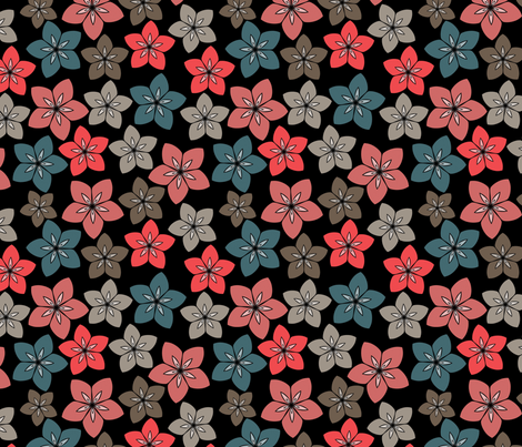 black retro flowers fabric by suziedesign on Spoonflower - custom fabric
