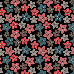black retro flowers
