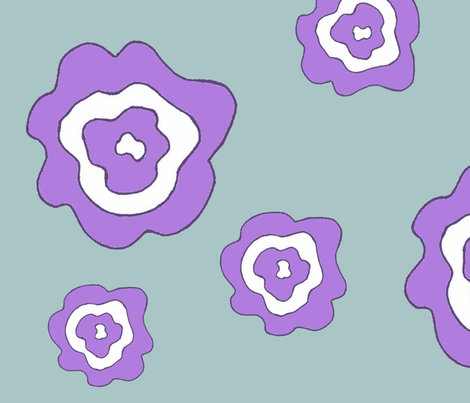 Flower Power - Purple & Blue fabric by dapple_gray_designs on Spoonflower - custom fabric