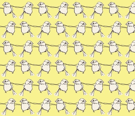 Birdfight in Yellow fabric by sparegus on Spoonflower - custom fabric