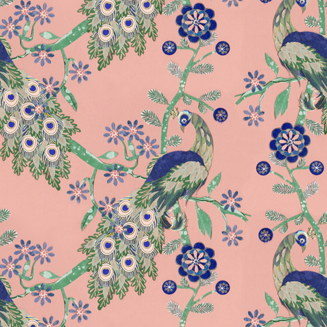 Peacocks & Flowers fabric by lord-orlando on Spoonflower - custom fabric