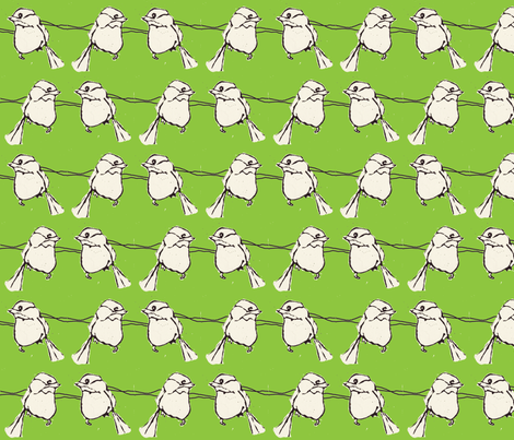 Birdfight in Green fabric by sparegus on Spoonflower - custom fabric