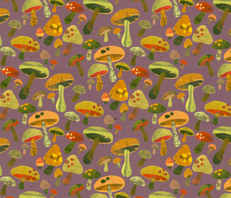 Mushroom Pickin Purple fabric by kimkim on Spoonflower - custom fabric