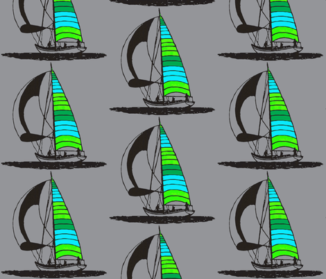 Blue sailboat fabric by koffeycakes on Spoonflower - custom fabric