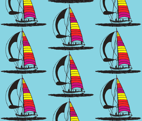 Red sailboat fabric by koffeycakes on Spoonflower - custom fabric