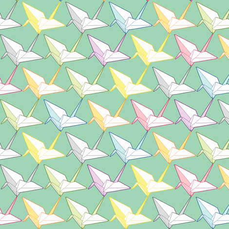 One thousand cranes fabric by candyjoyce on Spoonflower - custom fabric