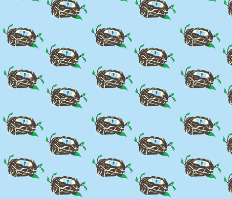 """Nesting Instinct Blue"" fabric by featheredneststudio on Spoonflower - custom fabric"