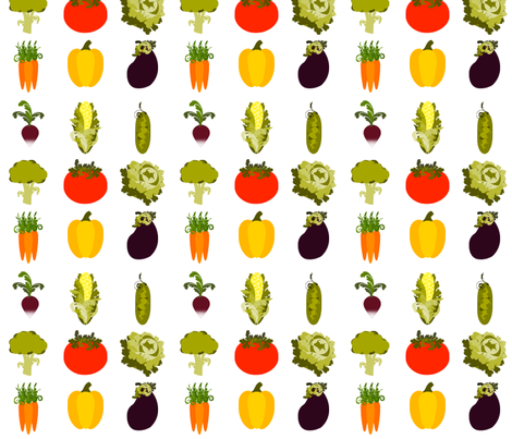 Eat Your Veggies-ed fabric by 13blackcatsdesigns on Spoonflower - custom fabric
