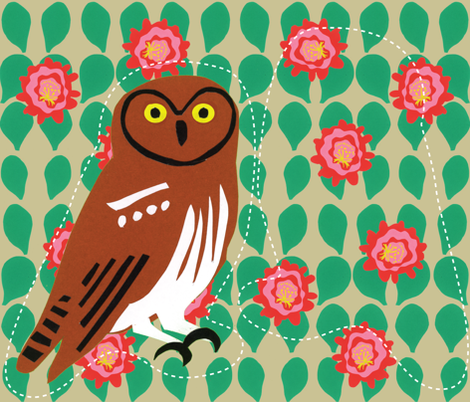 Elf Owl - Cut & Sew fabric by owlandchickadee on Spoonflower - custom fabric